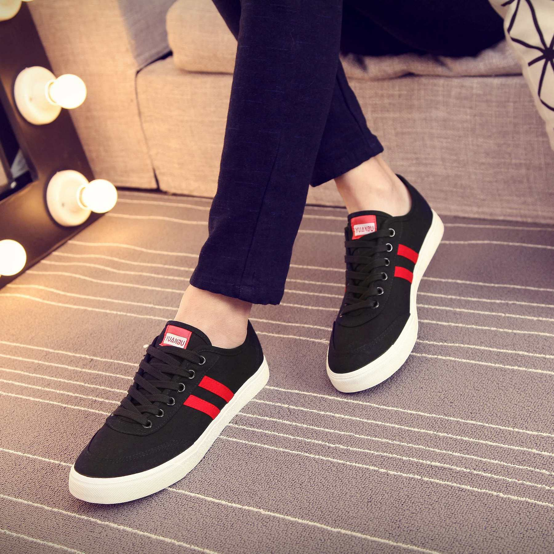 Summer lovers white canvas shoes casual shoes for Korean male low Young lace cloth shoes