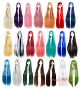 100cm animation with Cosplay Long Straight Wig pure red black and white multi color long hair sets realistic