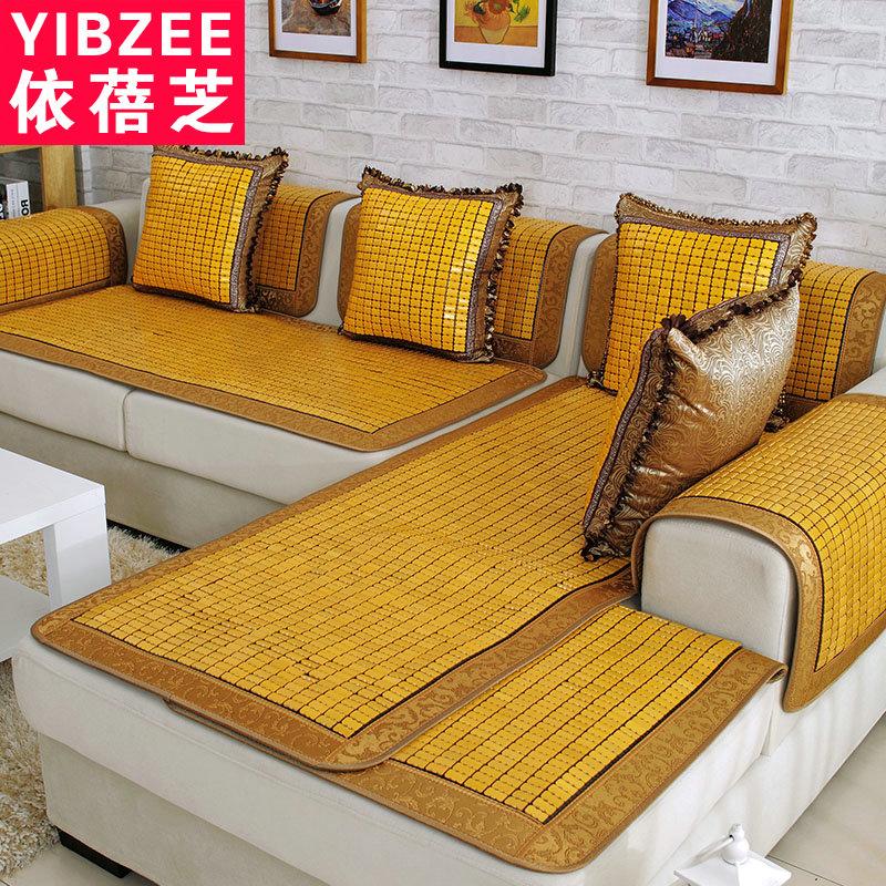 夏季藤竹墊席涼墊歐式防滑麻將沙發墊布藝坐墊田園皮套巾簡約現代