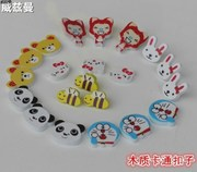 Cartoon color button button button wholesale supply of children's wooden buttons son wool buckle accessories