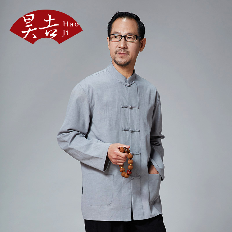 60 elderly men spring autumn long sleeved cotton shirt collar costume 65 to more than 70 year old grandpa coat clothing