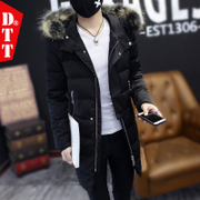 Men's winter clothes coat 2016 new cotton young long cotton padded jacket handsome male Korean tide