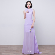 2017 new summer bridesmaid dresses long slim collar dress Toastmaster thin Chiffon Dress