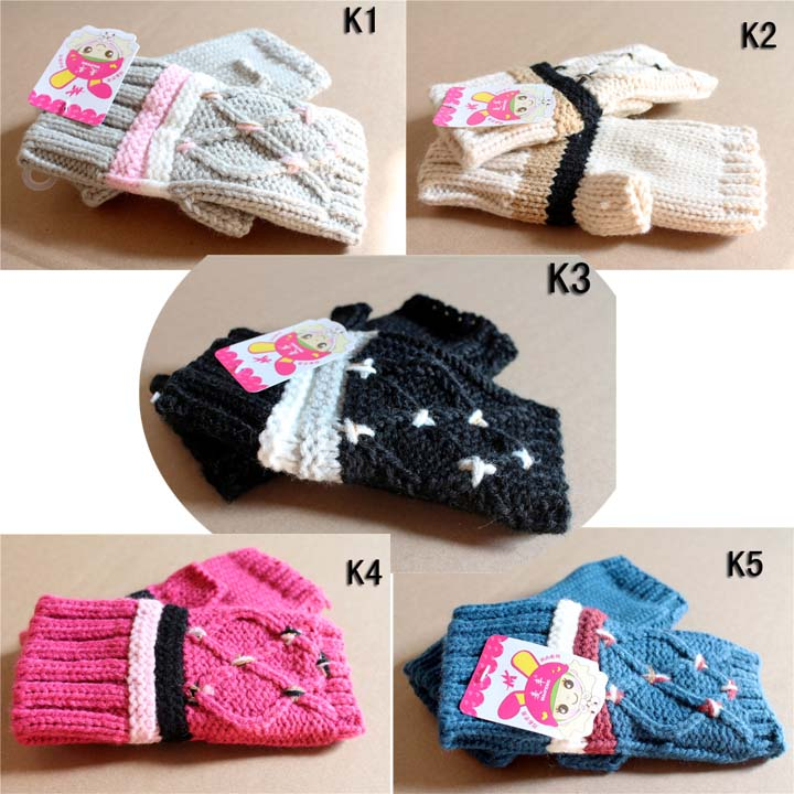 Full autumn and winter with warm gloves that Terry female Korean tide winter students ride lovely knitting gloves