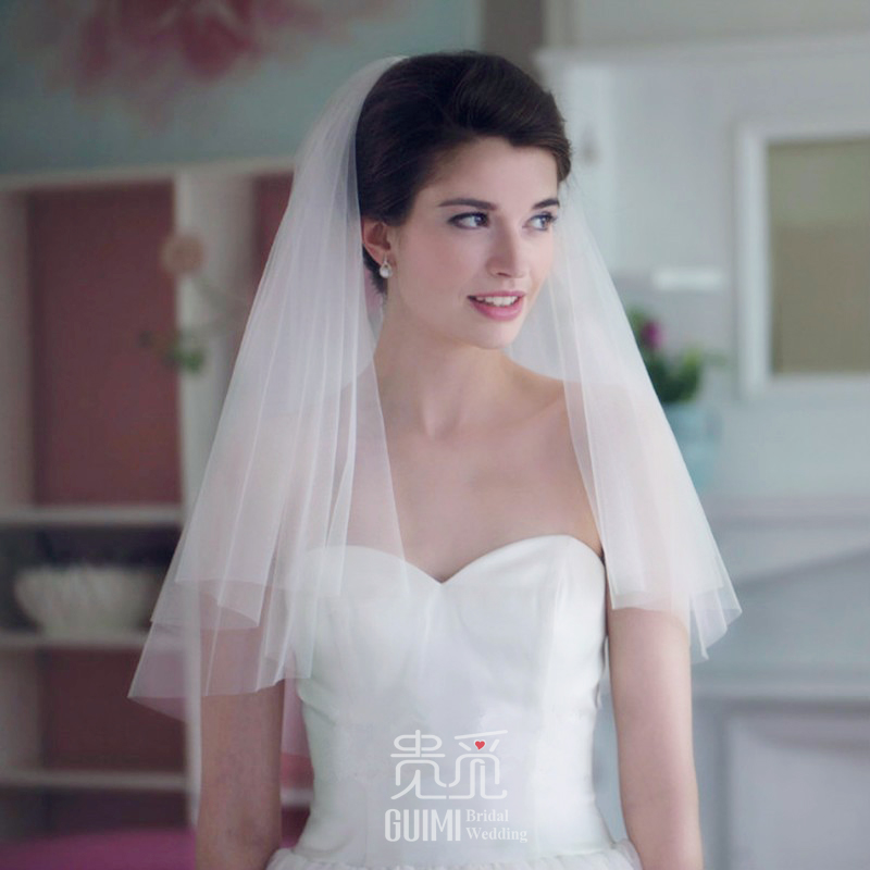The new version of the bride veil short double all-match headdress with simple trip shoot and Comb Wedding Accessories