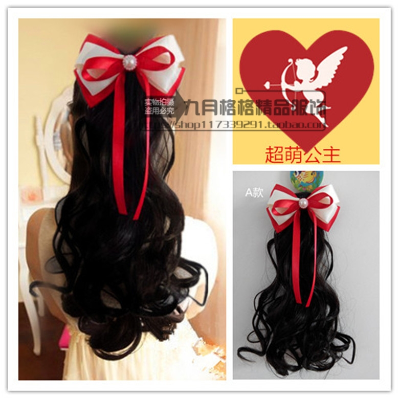 Children hair wig baby girls hair long pear head child bow horse hair wig bag mail