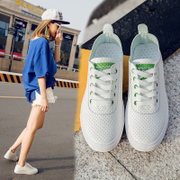 In the spring of 2017 new white shoes sports shoes casual shoes lace Korean running shoes flat low shoes