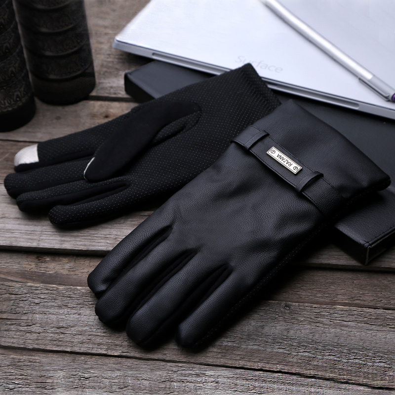 Lint driving gloves, men's driving, winter touch screen, thickening, suede, windproof, anti-skid cycling, PU