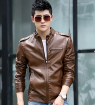 Spring mens leather leather motorcycle jacket collar slim Korean fashion business casual trendy man coat
