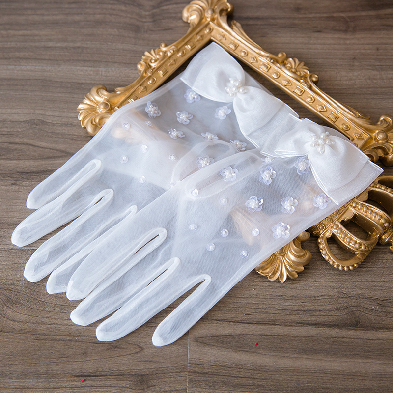 Waterdance bride I new white gauze bow bead Wuzhi Wedding Gloves Wedding Accessories N0088