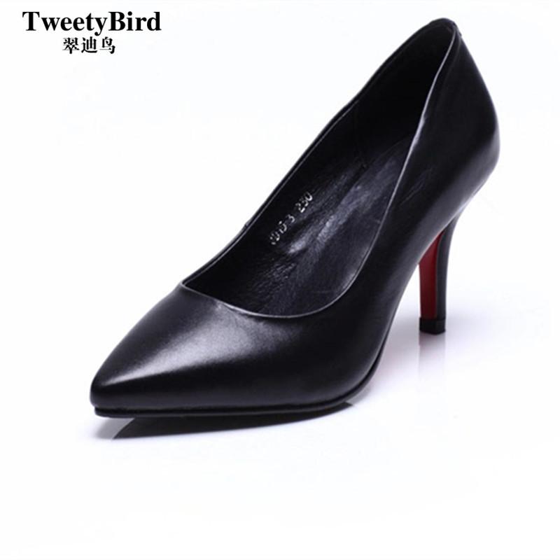 奢侈品牌 Tweetybird 高档头层牛皮尖头浅口高跟套脚英伦纯色女鞋
