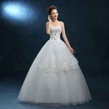 Strapless Wedding Dress 2017 new spring and summer fashion Korean code thin bride lace Qi female