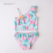 Children swimsuit girl three 3-4 years old female baby small Suihua shoulder Princess Lolita split bikinis