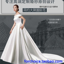 A new fashion shoulder tail wedding bride wedding dresses satin and retro high-end photographic studio