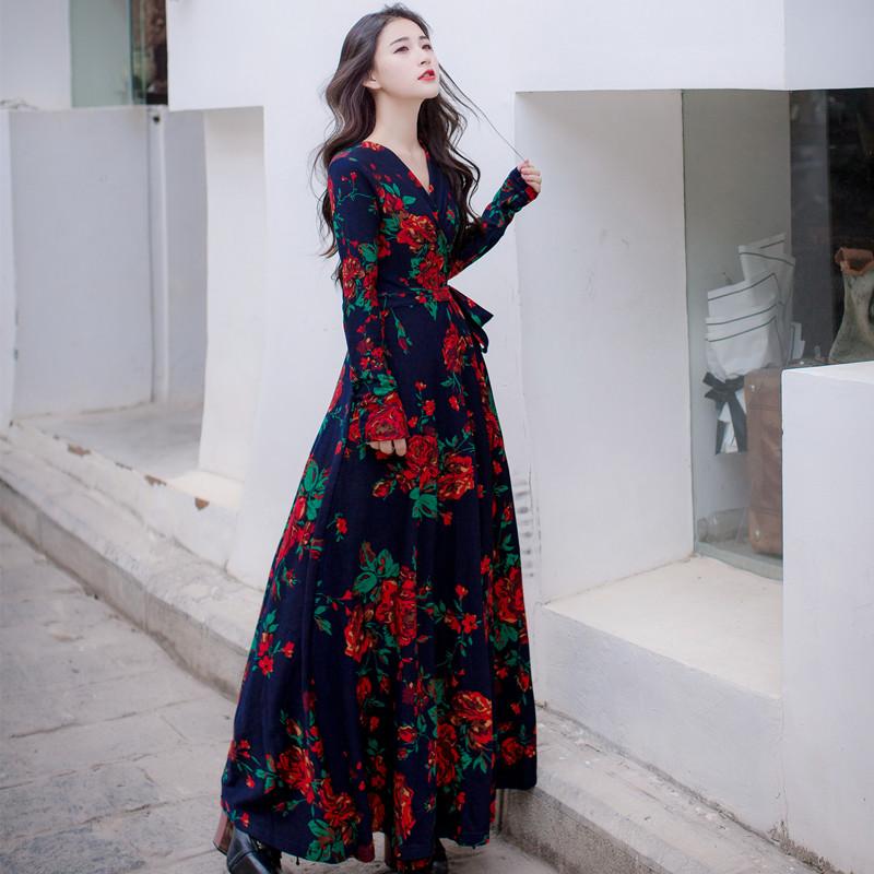 秋冬装长款收腰裹身裙修身长袖针织碎花连衣裙显瘦大摆长裙女气质