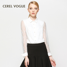 Carrel small collar shirt sleeved loose 30-40 years old female Summer White Chiffon ladies temperament all-match