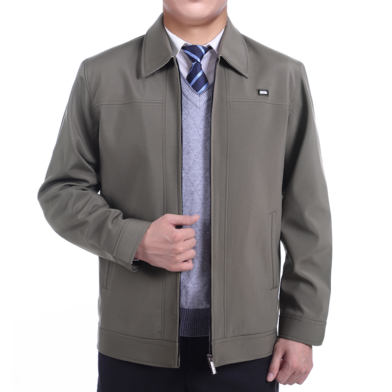 In the spring and autumn elderly fat middle-aged men with loose Coat Jacket Mens XL father put fat fat