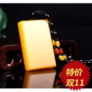 Natural jade white jade pendant huanglongyu male and female All is well. brand brand jade Ping