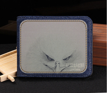 Custom tailor Eagle Chinese traditional denim short men's casual men's bag men's wallet, Japan and South Korea 48EN