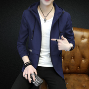 The spring and autumn male man Coat Jacket Mens Fashion slim handsome Korean autumn 2017 new plus cashmere Hoodie