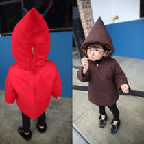 Ins explosions between men and women in the winter coat 1 Christmas red baby coat jacket 2 solid color infant new year loaded