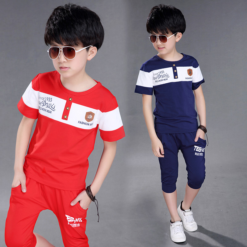 Children 12-15 years old boy scout summer suit big 13 cotton short sleeved T-shirt ten boys summer two piece 8