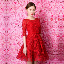 Take one shoulder bridal toasting 2017 new red short sleeve wedding dress women hosts in self-