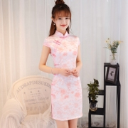 2017 new pink dress cheongsam spring short modified version of fashion slim slim girl summer daily
