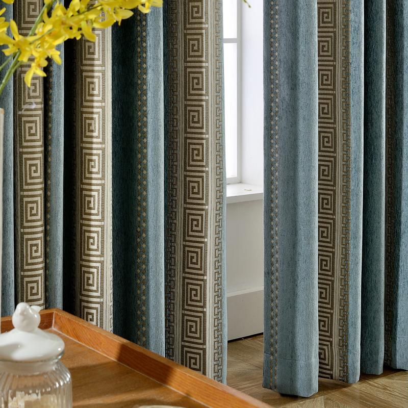 新中式古典窗帘成品全遮光客厅卧室羊绒雪尼尔简约落地飘窗帘布