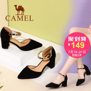 The camel shoes 2017 new summer fashion temperament all-match high-heeled pointed shoes buckle shoes a rough documentary