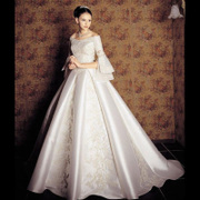 One-word shoulder-tailed wedding dress 2017 new Court big Yard show tall and slender waist pregnant woman princess skirt long sleeve