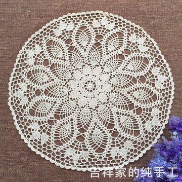 手工钩针钩花纯棉镂空编织装饰盖布 美式乡村菠萝花圆形桌布60cm