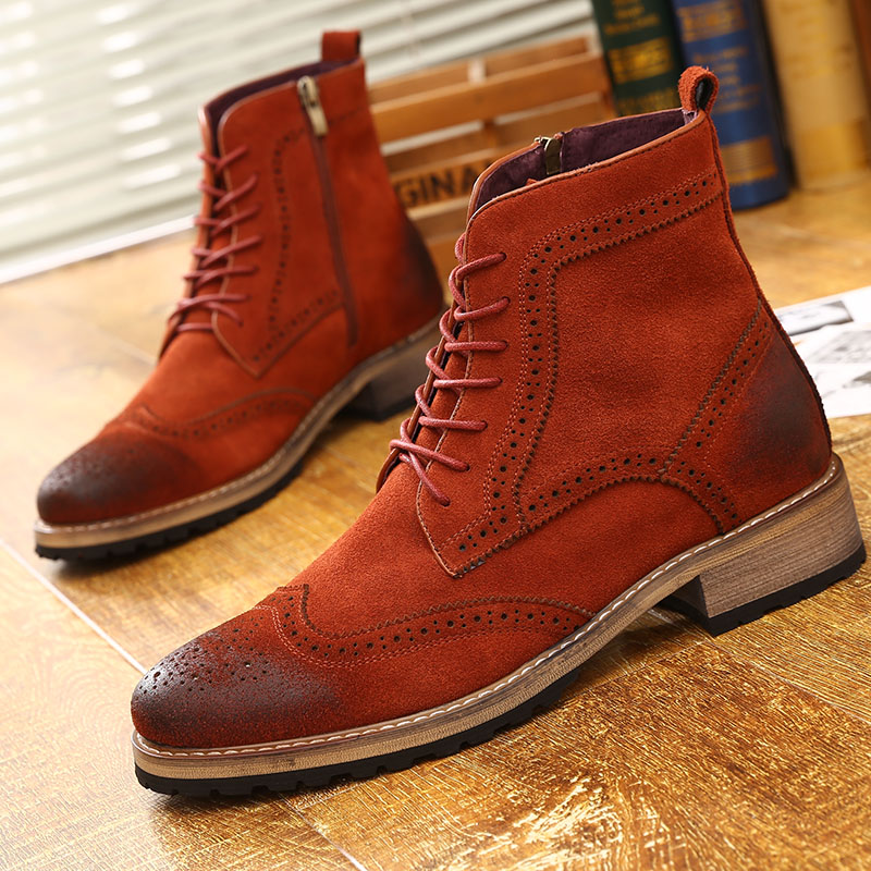 Martin boots male leather increased trend Korea boots Bullock carved shoes British fashion high shoes
