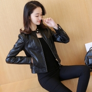 2017 spring and autumn loaded with the new Korean version of the big code PU motorcycle leather jacket leather jacket slim short jacket of a small woman, 2016