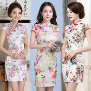 2017 new spring and summer dress jacquard cotton slim short dress cheongsam retro daily improved female temperament