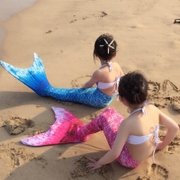 Mermaid tail fins with parenting children Princess spa girls baby swimwear bikinis suit dress