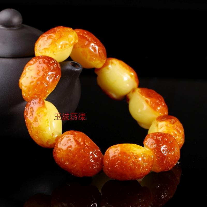 The auction will end @ old chicken oil beeswax hand string yellow amber agate bracelet with the form of men and women shall send the certificate