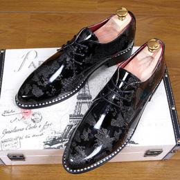 男士皮鞋真皮尖头正装男鞋商务休闲英伦风韩版潮流发型师漆皮亮皮