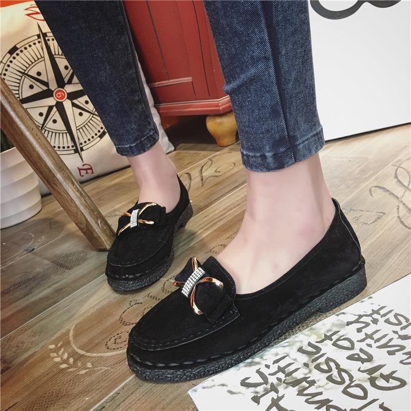 2017 spring and summer new flat bottom single shoe bow tie water drill bean shoe soft bottom comfortable leisure women shoes shoe cover