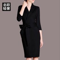 Long sleeve dress girls 2017 spring tide OL temperament bag hip wear cropped sleeves black plus size clothing