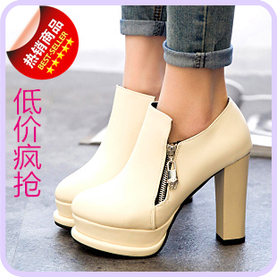 2015 explosions low autumn shoes pure color high heels popular Martin shoes waterproof