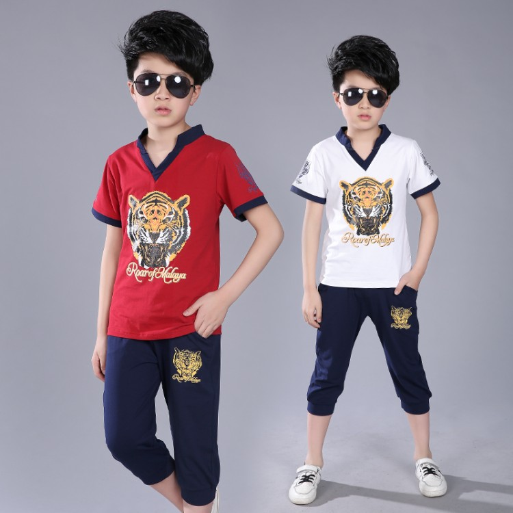 The big boys summer 2017 new summer children wear short sleeved suit 3 Korean 5 tide clothing 11-13 years 7