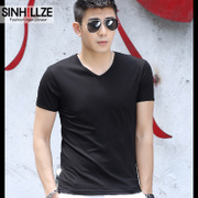 2 pieces of mercerized cotton modal male short sleeved T-shirt collar V solid half sleeve shirt T-shirt men dress tide
