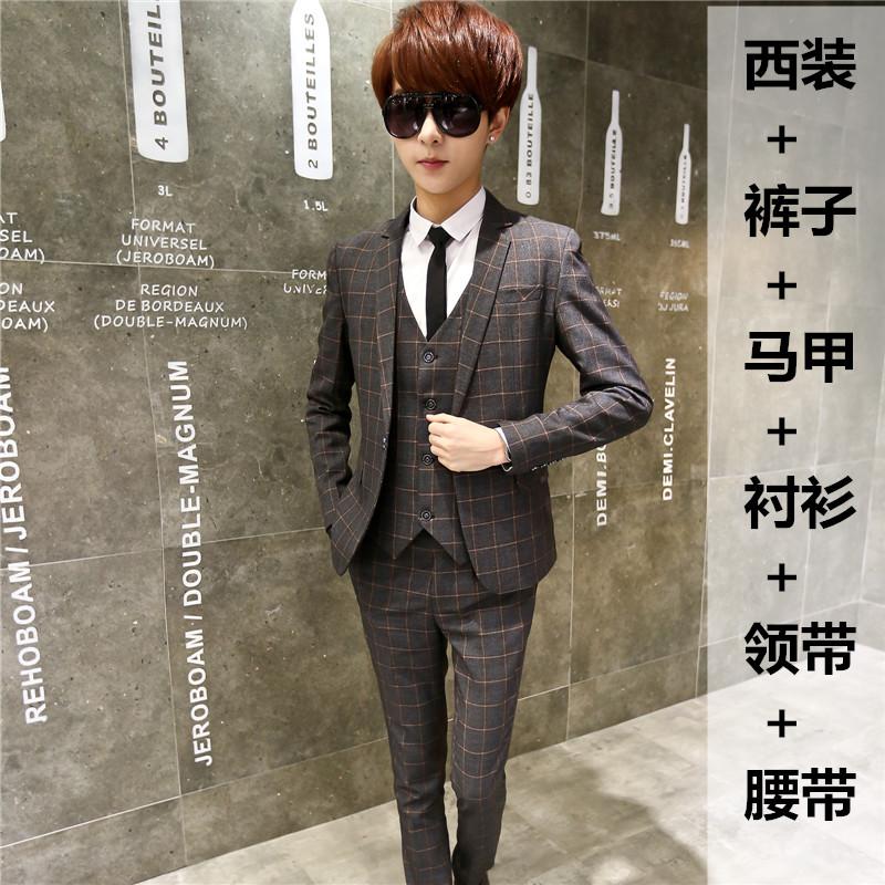 三件套装秋冬季男士马甲外套西服青少年修身韩版学生小西装长裤潮