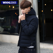 WOOG2005 Korean Mens 2016 winter hooded cotton padded young men's thick winter coat