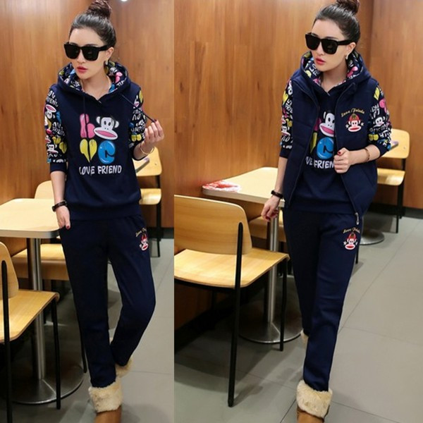 Three-piece counters authentic Paul Frank thickened and cashmere sweater size slim female winter sports and leisure clothing suits