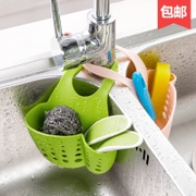 Home home sink plastic drain basket hanging basket containing small kitchen supplies kitchen shelving incorporating draining racks