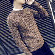 Autumn and winter sweater coat collar is Korean students thickening trend of men's sweaters in winter handsome sweater