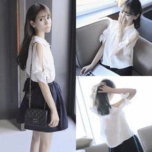 2017 new summer small fresh White Chiffon shirt Lapel loose Strapless short sleeved shirt shirt female bow