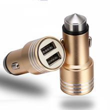 Dual USB Car Charger safety hammer mobile phone data line four in one Chrysler 300CPT smart car charger